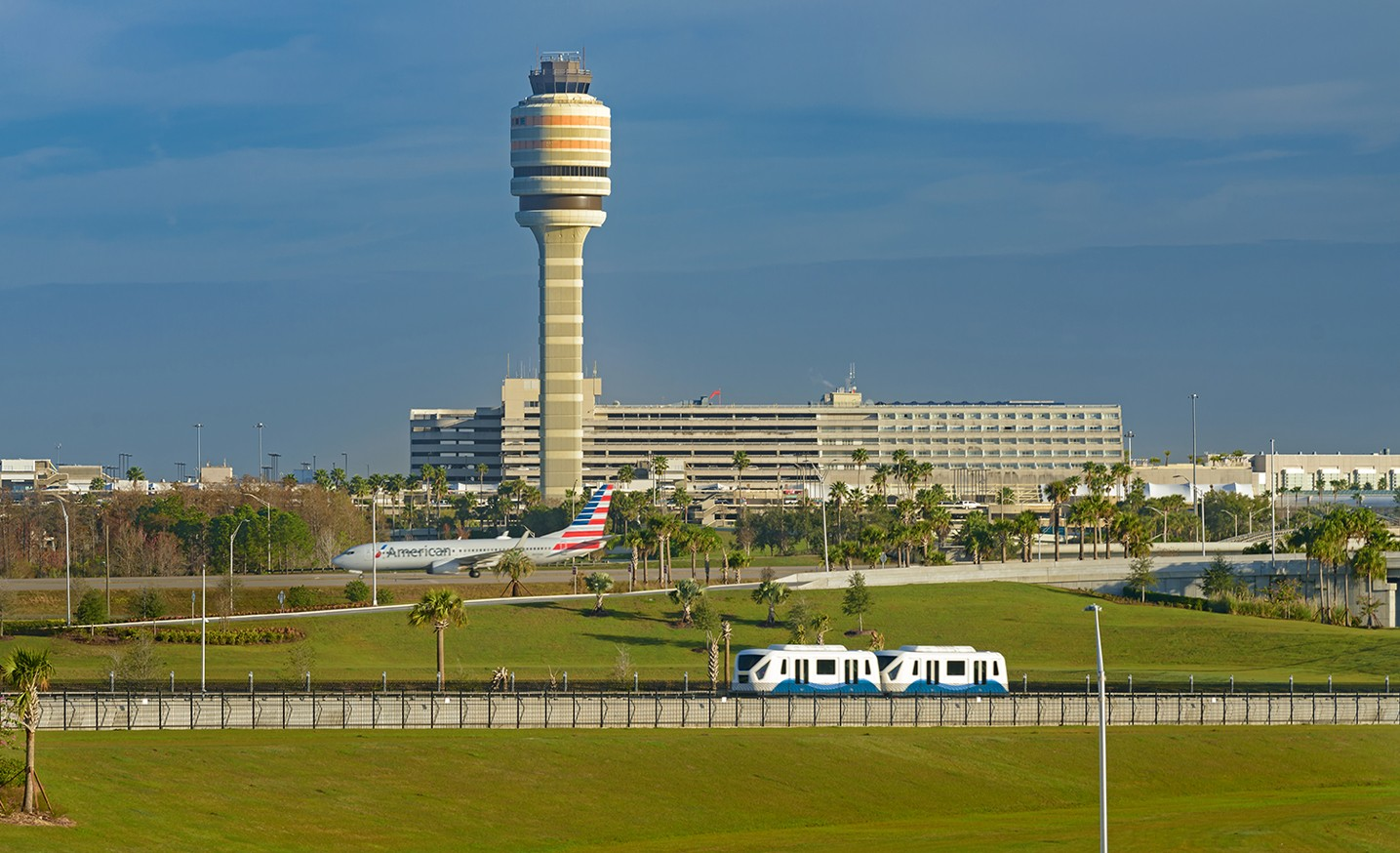 North Terminal with ATC Tower, APM and Aircraft